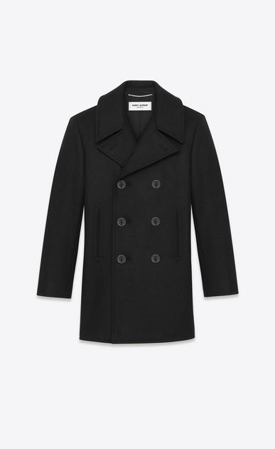 SAINT LAURENT Coats U classic caban marin in black wool v4