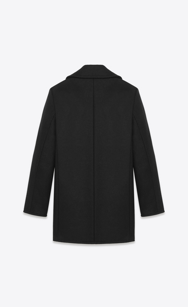 SAINT LAURENT Coats U classic caban marin in black wool b_V4