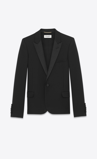 SAINT LAURENT Tuxedo Jacket Woman iconic le smoking cropped jacket in black textured wool V4