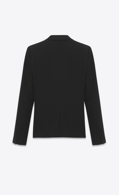 SAINT LAURENT Tuxedo Jacket Woman iconic le smoking cropped jacket in black grain de poudre textured wool b_V4