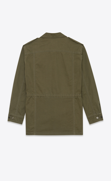 SAINT LAURENT Casual Jackets Man military parka in khaki cotton and linen gabardine b_V4