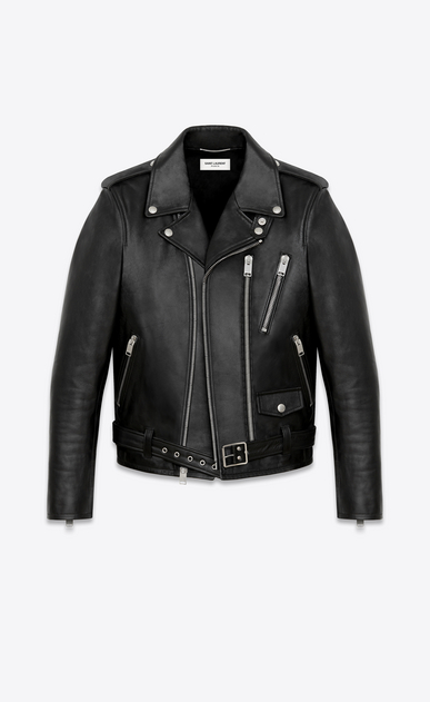 SAINT LAURENT Leather jacket U Signature Black Leather Motorcycle Jacket a_V4