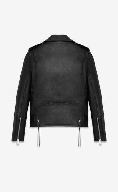 SAINT LAURENT Leather jacket U Signature Black Leather Motorcycle Jacket b_V4