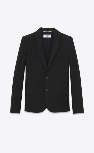 SAINT LAURENT Blazer Jacket D classic single-breasted jacket in black wool gabardine a_V4