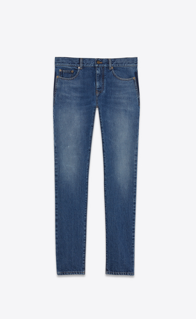 SAINT LAURENT Skinny fit Man original low waisted skinny jean in dark blue denim a_V4