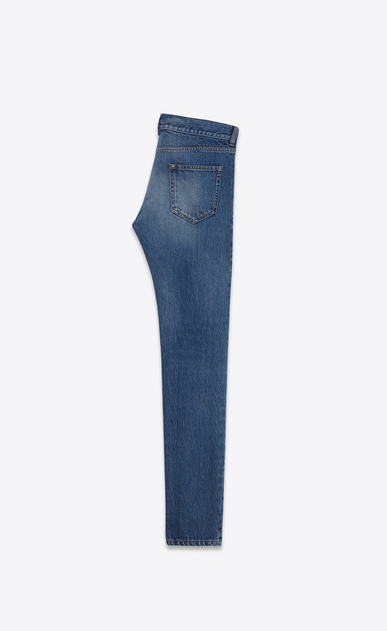 SAINT LAURENT Skinny fit U original low waisted skinny jean in dark blue stretch denim b_V4