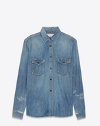 SAINT LAURENT Denim shirts U western distressed shirt in light blue 70's trash denim f