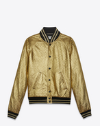 SAINT LAURENT Giacca di Pelle U Giubbotto da baseball Teddy traforato color oro e nero in pelle f