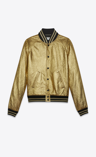 SAINT LAURENT Leather jacket U Gold and black leather perforated TEDDY Baseball Jacket a_V4