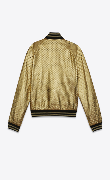 SAINT LAURENT Leather jacket U Gold and black leather perforated TEDDY Baseball Jacket b_V4