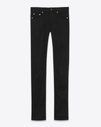 SAINT LAURENT Skinny fit U jean skinny à taille basse en toile denim stretch brute noire f