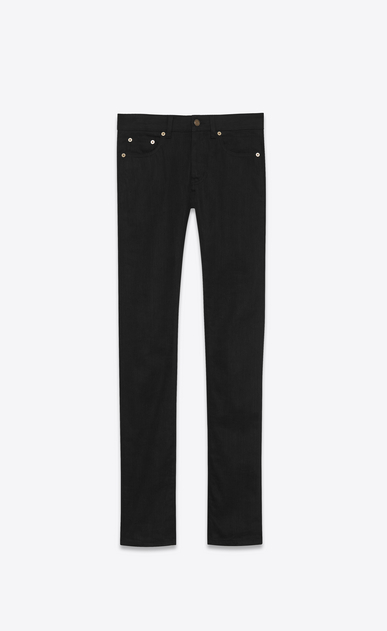SAINT LAURENT Skinny fit U jean skinny à taille basse en toile denim stretch brute noire a_V4