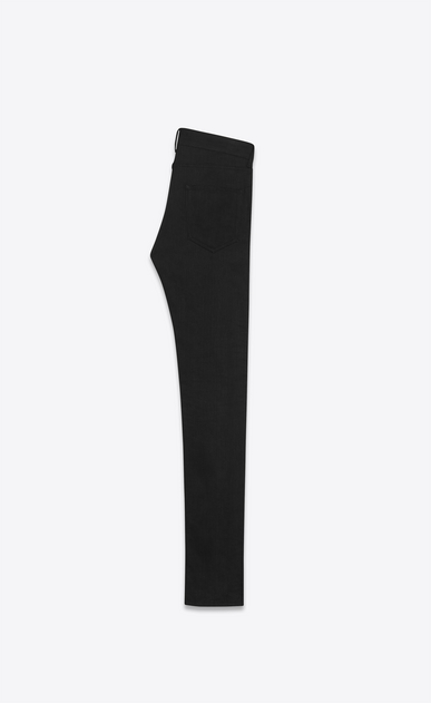 SAINT LAURENT Skinny fit U jean skinny à taille basse en toile denim stretch brute noire b_V4
