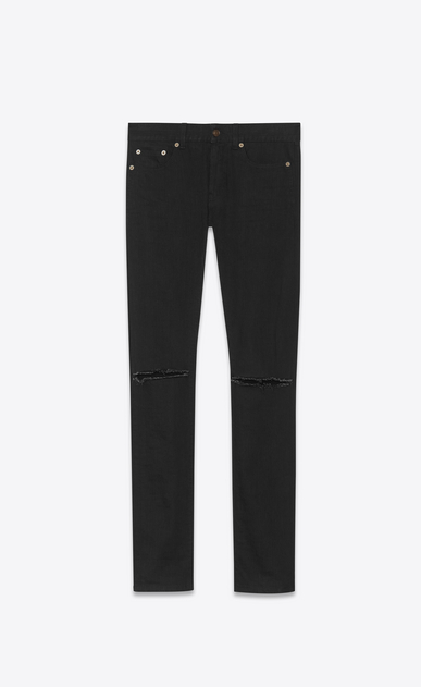 SAINT LAURENT Skinny fit Man original low waisted ripped skinny jean in used black stretch light denim a_V4