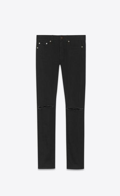 SAINT LAURENT Skinny fit U original low waisted ripped skinny jean in used black stretch light denim v4