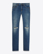 SAINT LAURENT Skinny fit U original low waisted ripped skinny jean in vintage blue denim f