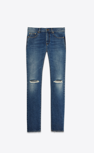 SAINT LAURENT Skinny fit Man original low waisted ripped skinny jean in vintage blue denim a_V4