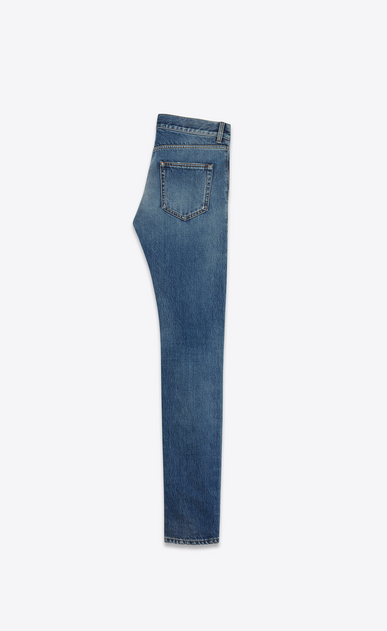 SAINT LAURENT Skinny fit U original low waisted ripped skinny jean in vintage blue denim b_V4