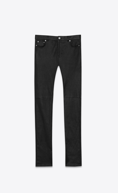 SAINT LAURENT Leather pants Woman signature low waisted skinny jeans in black leather a_V4