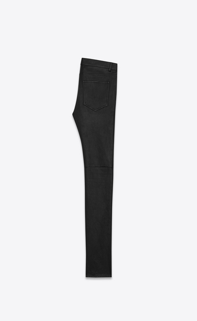 SAINT LAURENT Leather pants Femme jean skinny taille basse en cuir noir b_V4