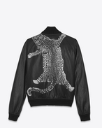 SAINT LAURENT Lederjacke U BLACK AND WHITE LEOPARD TEDDY LEATHER BASEBALL JACKET f
