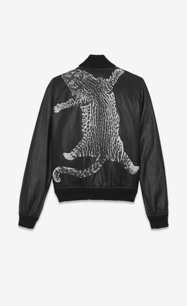 SAINT LAURENT Leather jacket U BLACK AND WHITE LEOPARD TEDDY LEATHER BASEBALL JACKET a_V4