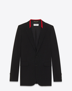 SAINT LAURENT Blazer Jacket D Black Contrasting Collar Long Blazer in virgin wool gabardine  f