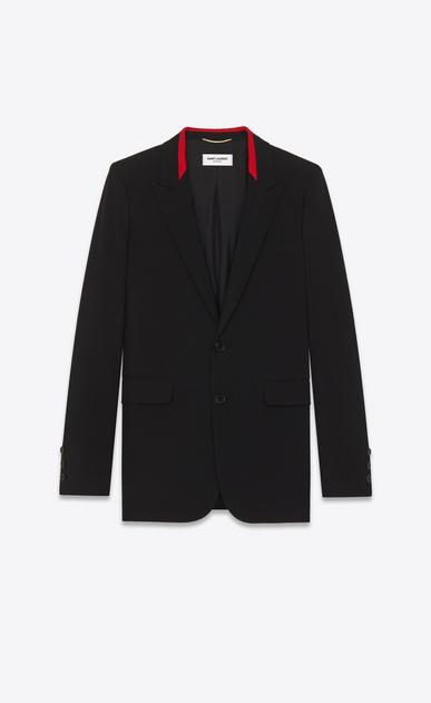 SAINT LAURENT Blazer Jacket D Black Contrasting Collar Long Blazer in virgin wool gabardine a_V4