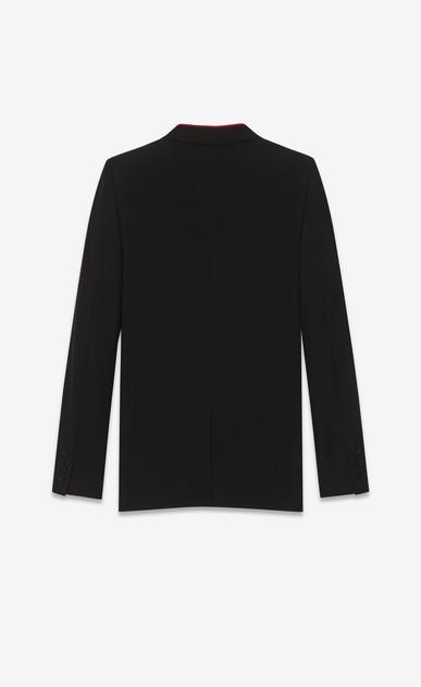 SAINT LAURENT Blazer Jacket D Black Contrasting Collar Long Blazer in virgin wool gabardine b_V4