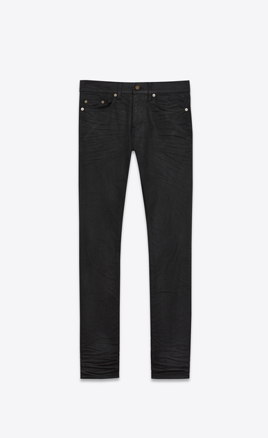 SAINT LAURENT Skinny fit U original low waisted skinny jean in light coated black stretch denim a_V4