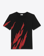 SAINT LAURENT T-Shirt and Jersey U Black and Red Short Sleeve Flame T-Shirt f