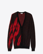 SAINT LAURENT Knitwear Tops D Black and Red Flame Jacquard Cardigan in mohair and wool f