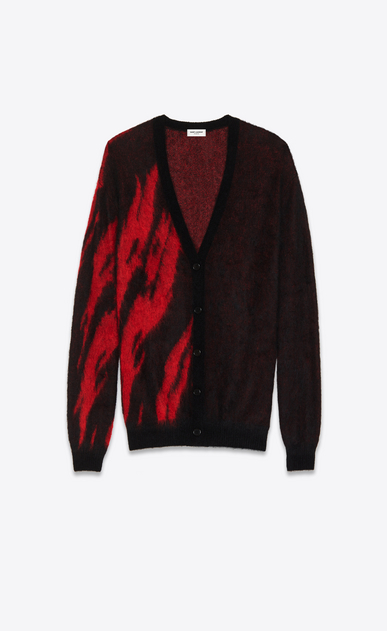 SAINT LAURENT Knitwear Tops D Black and Red Flame Jacquard Cardigan in mohair and wool a_V4