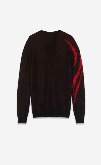 SAINT LAURENT Knitwear Tops D Black and Red Flame Jacquard Cardigan in mohair and wool b_V4