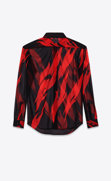 SAINT LAURENT Classic Shirts D Classic Black and Red Flame Shirt in silk crêpe b_V4
