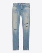 SAINT LAURENT Skinny fit U original low waisted destroyed skinny jean in dirty original blue trash denim f