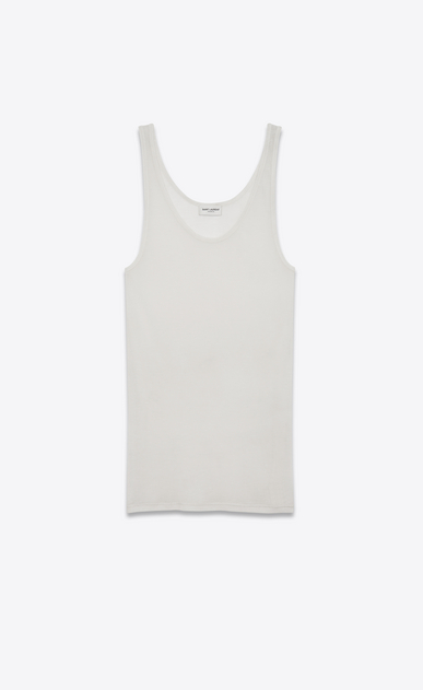 SAINT LAURENT T-Shirt and Jersey D tank top in ivory jersey a_V4