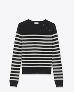 SAINT LAURENT Knitwear Tops D striped sailor sweater in black and ivory wool f