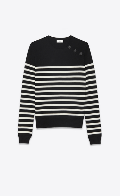 SAINT LAURENT Knitwear Tops Woman striped sailor sweater in black and ivory wool a_V4