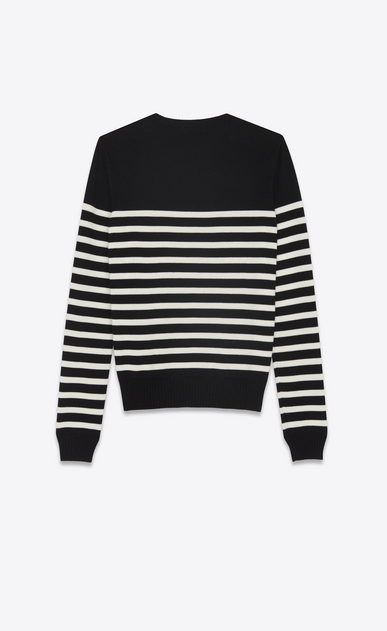 SAINT LAURENT Knitwear Tops D striped sailor sweater in black and ivory wool b_V4