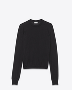 SAINT LAURENT Knitwear Tops D crewneck sweater in black cashmere and silk f