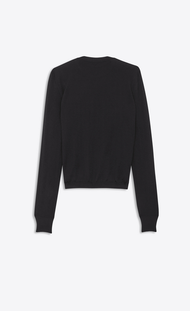 SAINT LAURENT Knitwear Tops Woman black crewneck sweater in cashmere and silk b_V4