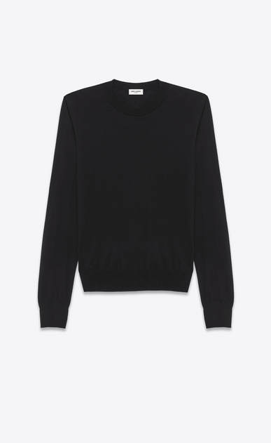 SAINT LAURENT Cashmere Tops Man black ultrafine cashmere crewneck sweater  a_V4
