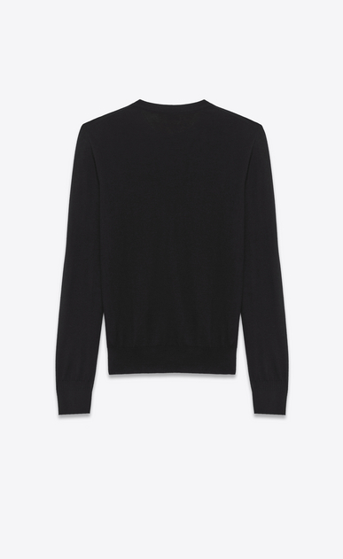 SAINT LAURENT Cashmere Tops Man black ultrafine cashmere crewneck sweater  b_V4