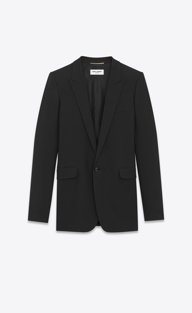 SAINT LAURENT Blazer Jacket Woman Single-Breasted Tube Jacket in Black Gabardine a_V4