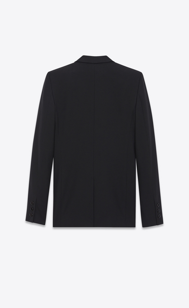 SAINT LAURENT Blazer Jacket Woman Single-Breasted Tube Jacket in Black Gabardine b_V4