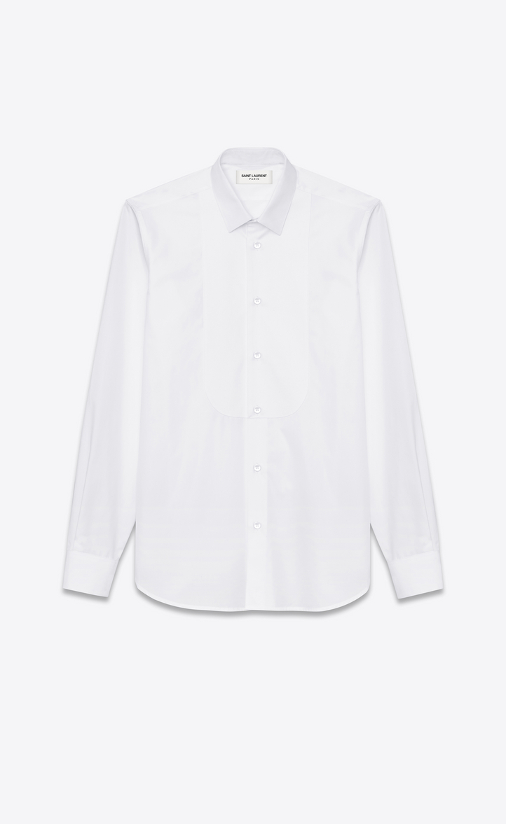 Saint laurent pique plastron yves collar shirt in white for Tuxedo shirt covered placket