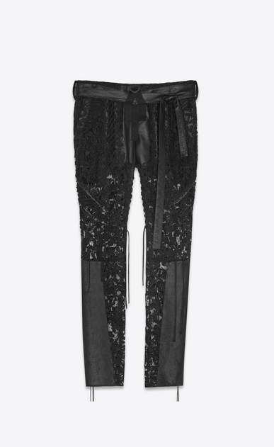 SAINT LAURENT Casual Pants Woman Laced pants in black lace and leather a_V4