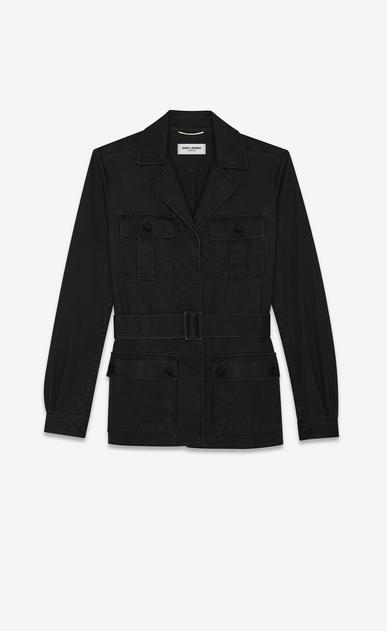 SAINT LAURENT Casual Jackets Woman saharienne jacket in black cotton gabardine a_V4