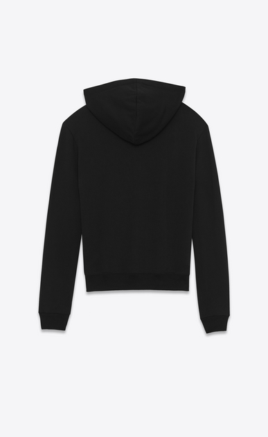 SAINT LAURENT Sportswear Tops E saint laurent signature cropped hoodie in black french terrycloth b_V4